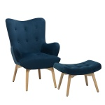 Fotel niebieski z hokerem welur VEJLE