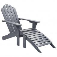 Fotel ogrodowy z podnóżkiem, drewniany, szary