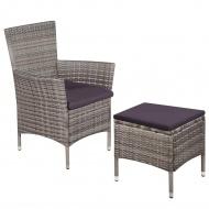 Fotel ogrodowy z podnóżkiem i poduszkami, polirattan, szary