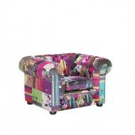 Fotel patchwork fioletowy - wypoczynkowy - do salonu - Vento
