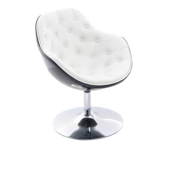 Fotel Pezzo pikowany D2 czarno-biały DK-24460