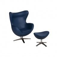 Fotel + podnóżek ekoskóra Jajo D2 niebieski ciemny