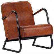 Fotel wypoczynkowy, brązowy, skóra naturalna