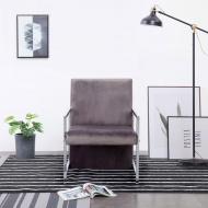 Fotel z chromowanym nóżkami, ciemnoszary, aksamit