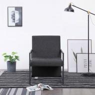 Fotel z chromowanymi nóżkami, ciemnoszary, materiałowy