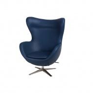 Fotel z ekologicznej skóry Jajo D2 niebieski ciemny