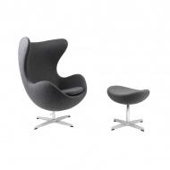Fotel z podnóżkiem Jajo D2.Design jasnoszary