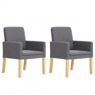 Fotele, 2 szt., jasnoszare, materiałowe