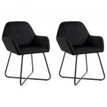 Fotele do salonu 2 szt. czarne aksamit