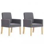 Fotele do salonu 2 szt. jasnoszare materiałowe