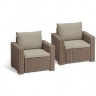 Fotele ogrodowe California Duo Allibert 83x72cm cappuccino/piasek