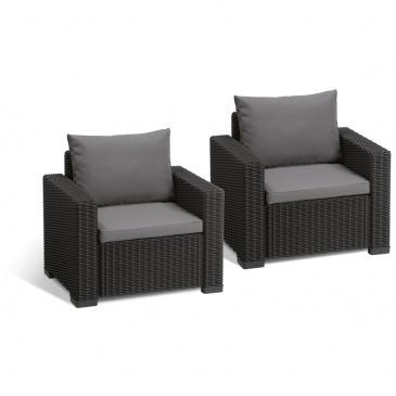 Fotele Ogrodowe California Duo Allibert 83x72cm Grafitszary