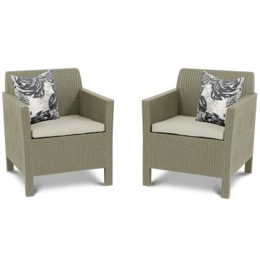Fotele Ogrodowe Orlando Duo Allibert 75x65cm Cappuccinopiasek