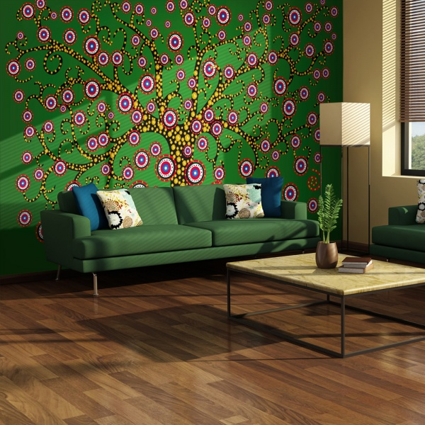 Fototapeta - abstrakcja: drzewo (zielony) (200x154 cm) A0-LFTNT0829
