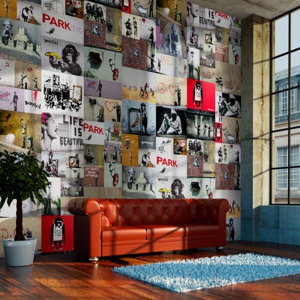 Fototapeta - Banksy - kolaż (50x1000 cm) A0-WSR10m440-P