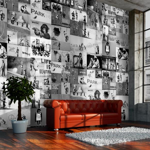 Fototapeta - Banksy - szary kolaż (50x1000 cm) A0-WSR10m441