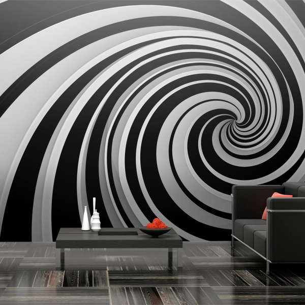 Fototapeta - Black and white swirl (550x270 cm) A0-F5TNT0001-P