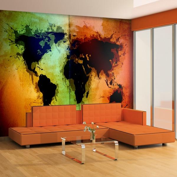 Fototapeta - Czarne kontynenty, kolorowe oceany... (200x154 cm) A0-LFTNT0410