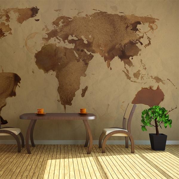 Fototapeta - Herbaciana mapa świata (450x270 cm) A0-F4TNT0140-P