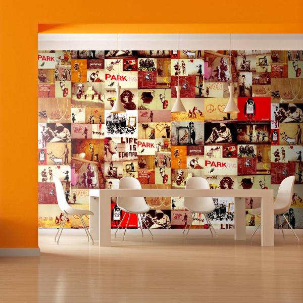 Fototapeta - Kolaż - Banksy (50x1000 cm) A0-WSR10m442