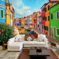 Fototapeta - Kolorowy kanał w Burano (300x210 cm)