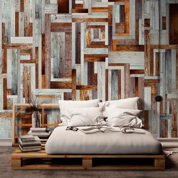 Fototapeta - Labirynt z drewnianych desek (50x1000 cm) A0-WSR10m215