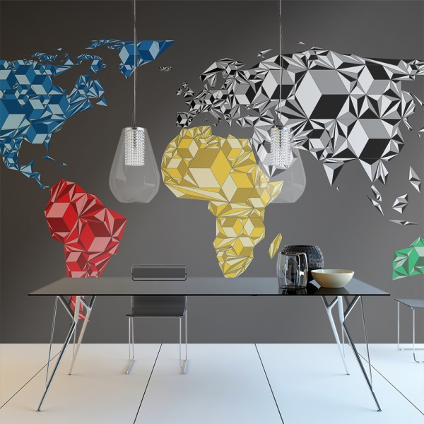 Fototapeta - Map of the World - colorful solids (200x154 cm) A0-LFTNT0427