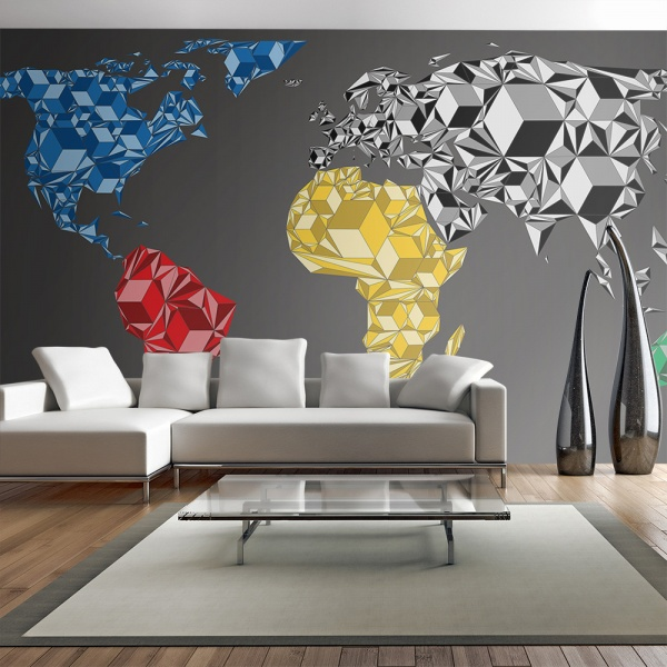 Fototapeta - Map of the World - colorful solids (550x270 cm) A0-F5TNT0080-P