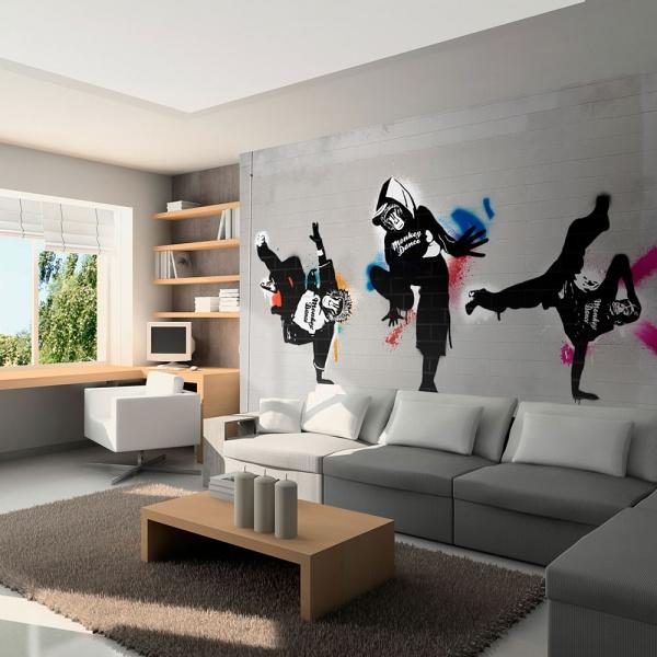 Fototapeta - Monkey dance - street art (200x154 cm) A0-LFTNT0610