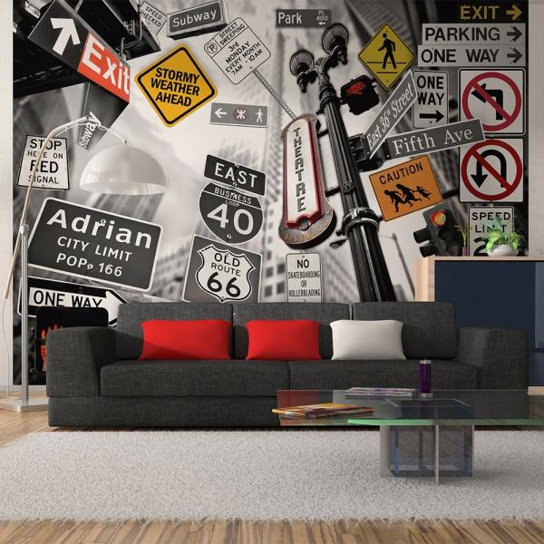 Fototapeta - Nowojorskie znaki na czarno-białym tle (200x154 cm) A0-LFTNT0680
