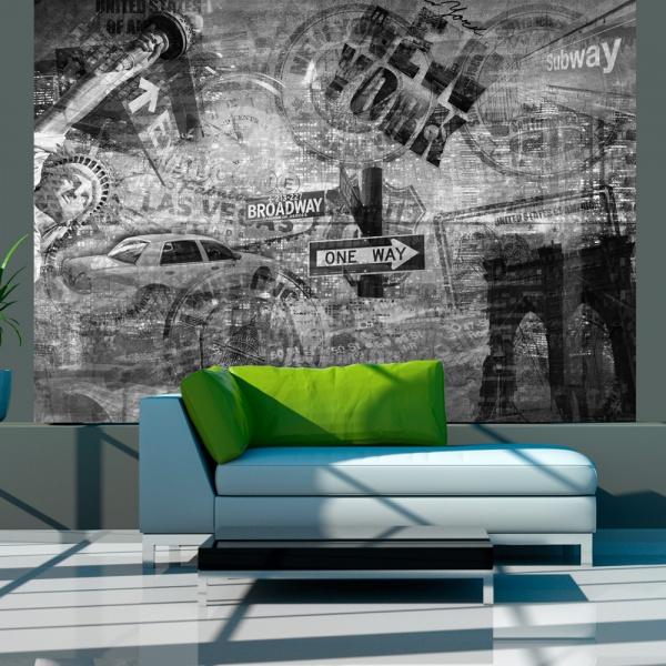 Fototapeta - Nowy Jork, czarno-biały, kolaż (200x154 cm) A0-LFTNT0685