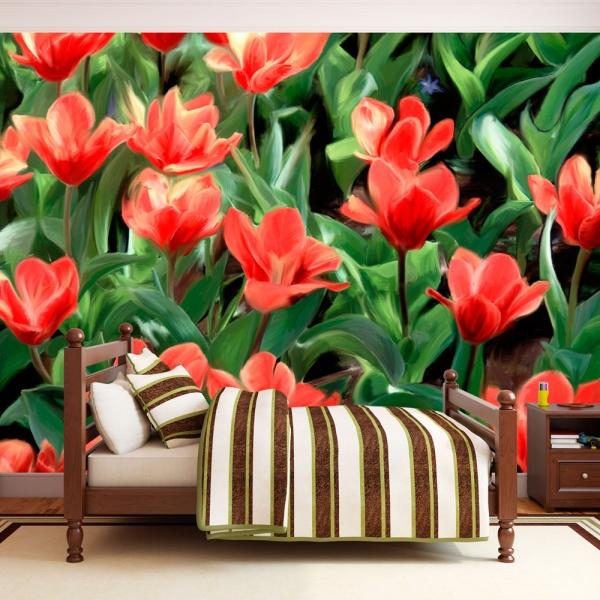 Fototapeta - Painted flowers (200x154 cm) A0-LFTNT0529