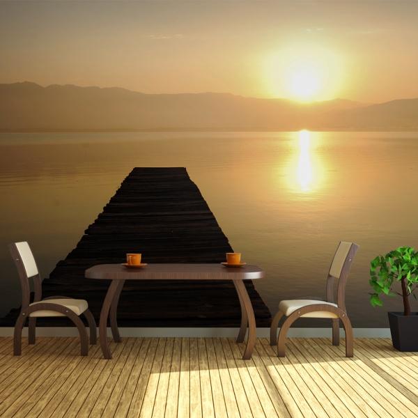 Fototapeta - pomost, jezioro, zachód słońca... (550x270 cm) A0-F5TNT0010-P