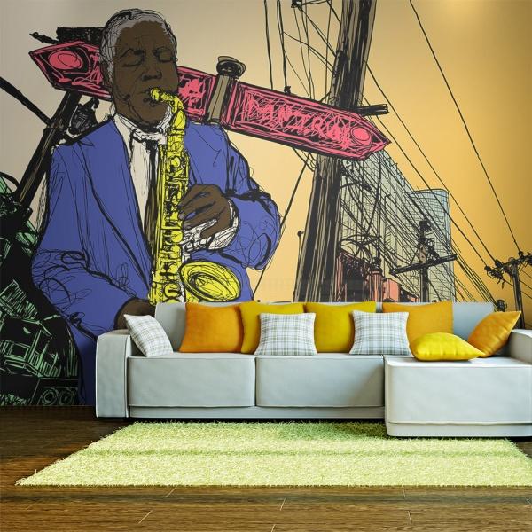 Fototapeta - Saxophonist in New York (200x154 cm) A0-LFTNT0671
