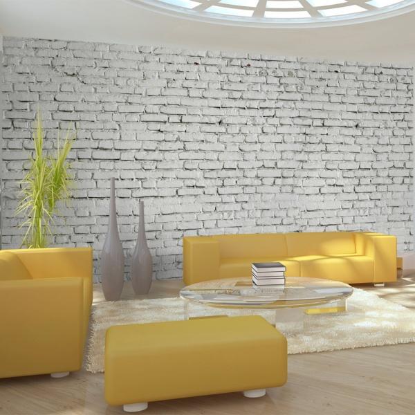 Fototapeta - Ściana z białej surowej cegły (550x270 cm) A0-F5TNT0025-P