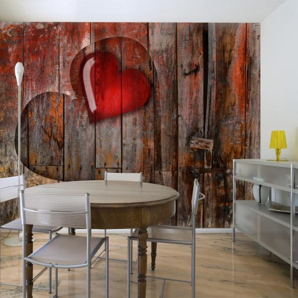 Fototapeta - Serce wyryte w drewnie (200x154 cm) A0-LFTNT0665