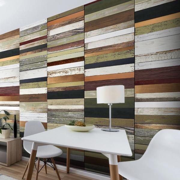 Fototapeta - Tęczowe odcienie drewna (50x1000 cm) A0-WSR10m514