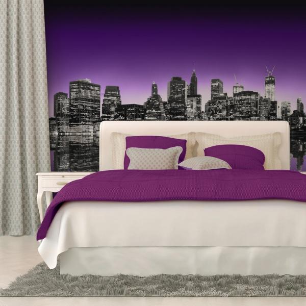 Fototapeta - The Big Apple in purple color (200x154 cm) A0-LFTNT0699