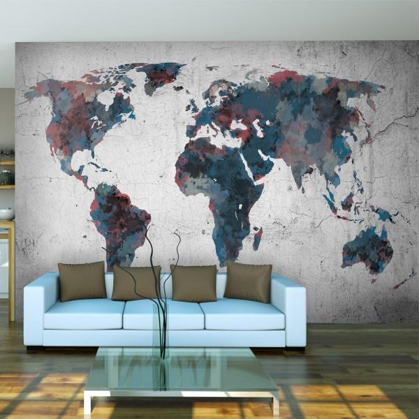 Fototapeta - World map on the wall (200x154 cm) A0-LFTNT0434