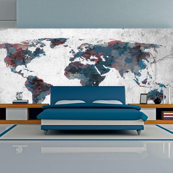 Fototapeta - World map on the wall (550x270 cm) A0-F5TNT0087-P