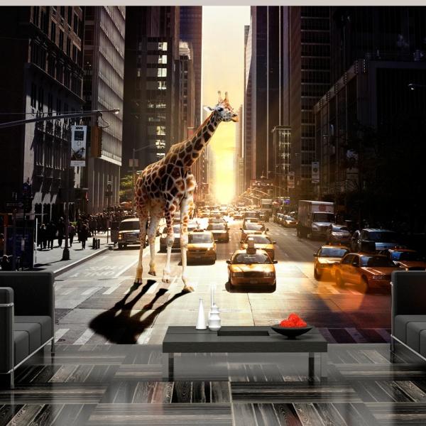 Fototapeta - Żyrafa w wielkim mieście (200x154 cm) A0-LFTNT0845