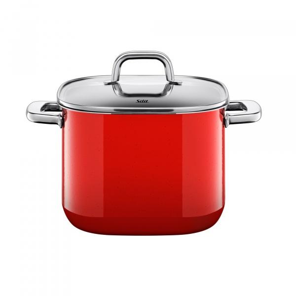 Garnek wysoki z pokrywą Silit Quadro Red 22 cm 21.0229.9561