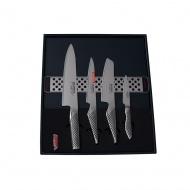 Global Zestaw 4 noże + listwa magnetyczna