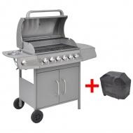 Grill gazowy ze strefą gotowania 6+1, kolor srebrny
