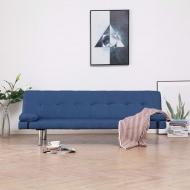 Kanapa rozkładana z dwiema poduszkami, niebieska, poliester