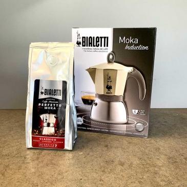kawiarka moka induction gold opakowanie i kawa