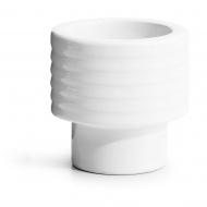 kieliszek na jajko/świecznik na tealight, biały, ceramika, śred. 5,7 x 5,7 cm
