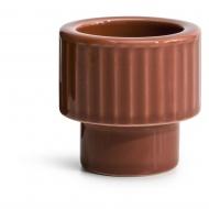 kieliszek na jajko/świecznik na tealight, czerwony, ceramika, śred. 5,7 x 5,7 cm