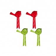 Klipsy do torebek 4 szt. Koziol Pi:p różowo-zielone