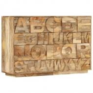 Komoda z 6 szufladami, alfabet, 120x35x79 cm, lite drewno mango